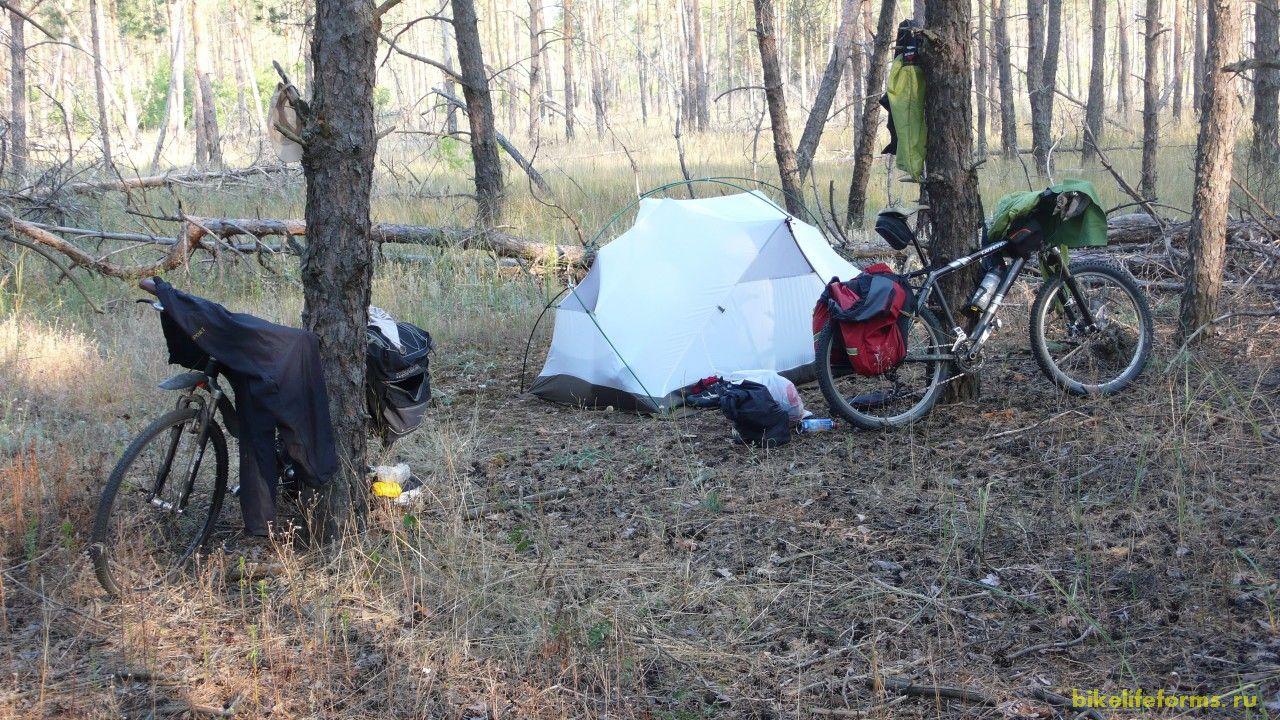 Ночь прошла превосходно. Мы быстро собрали наш лагерь и поехали завтракать и купаться на Битюжок.