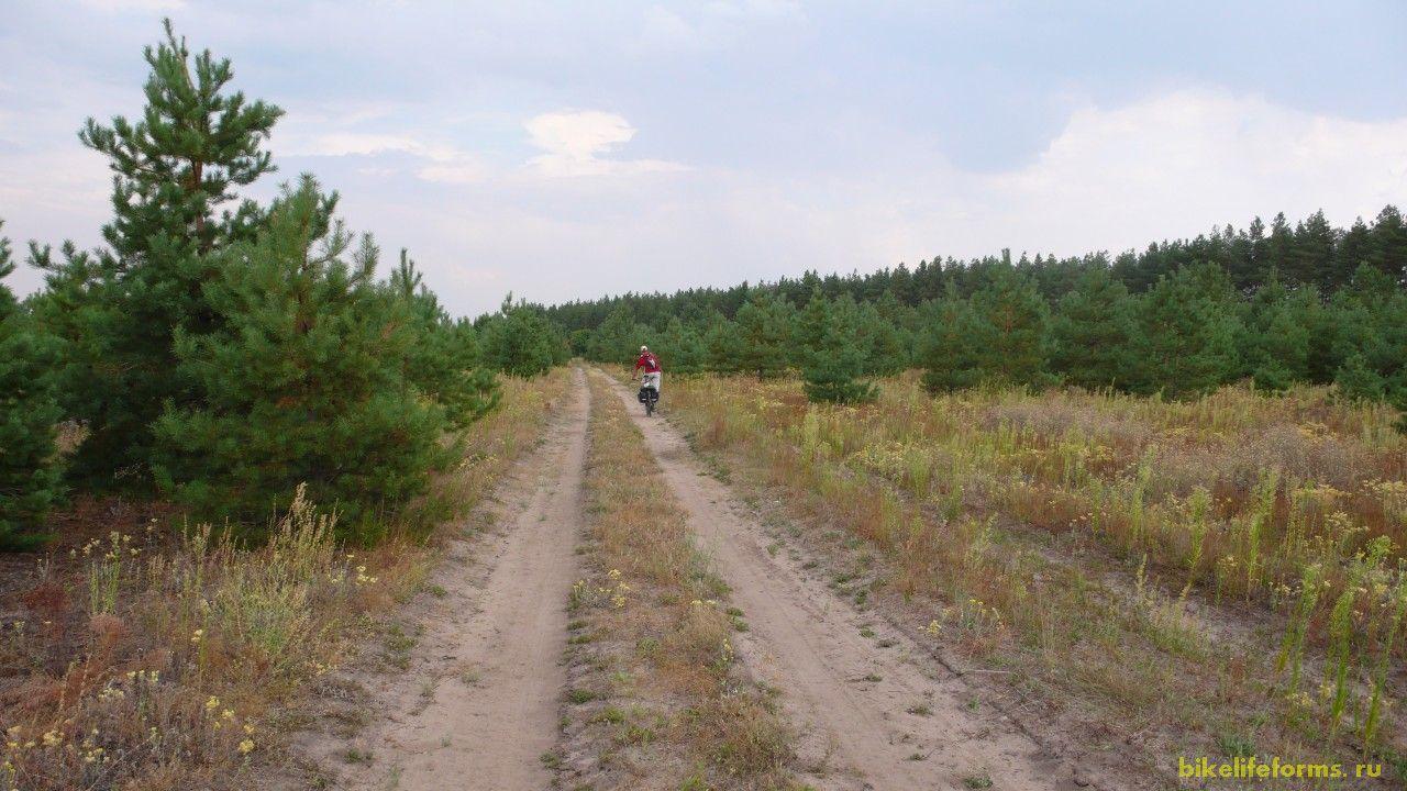 Вскоре мы оказались на немного песчаной дорожке по которой и поехали.