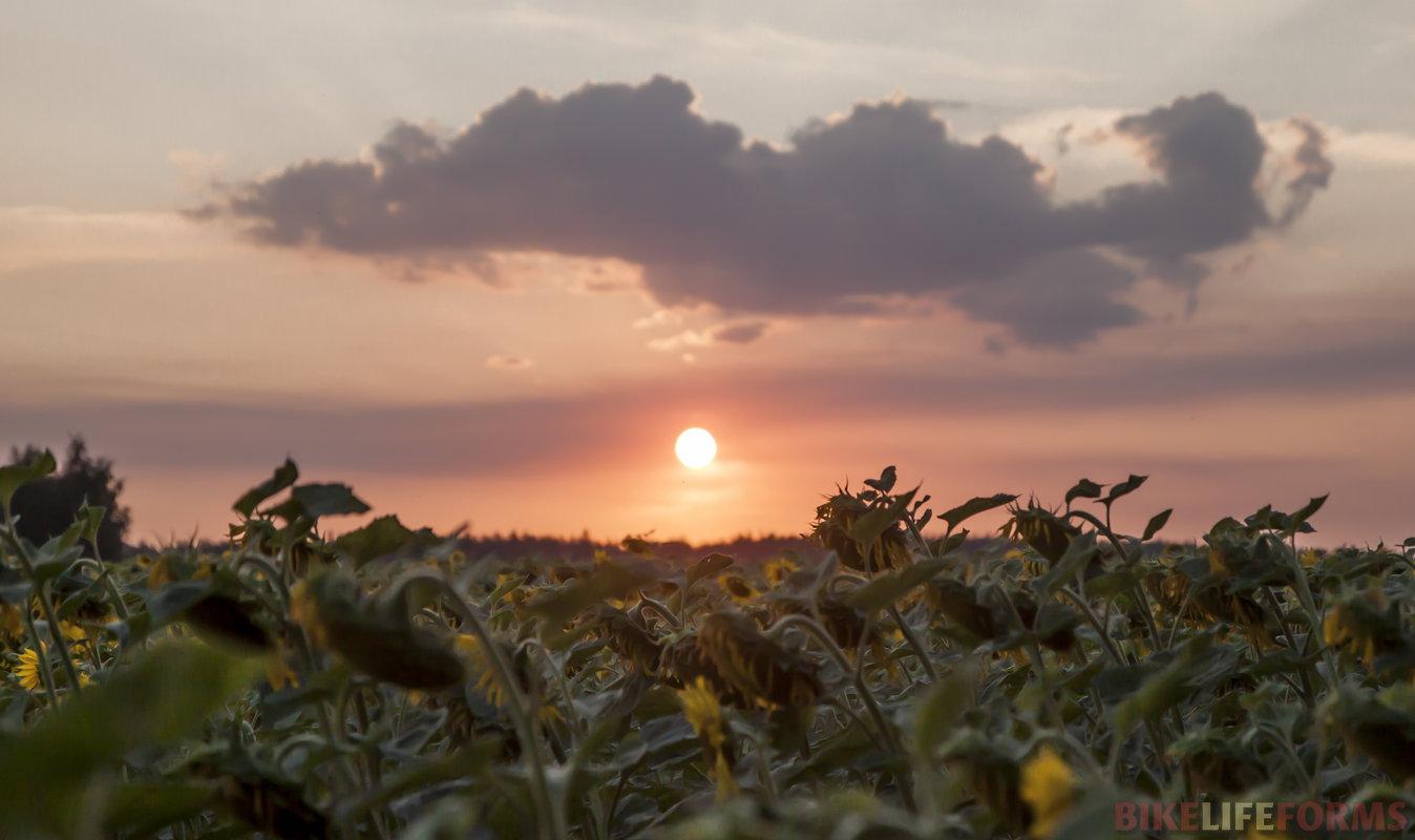 Интересный и тяжелый был день. Ехали вдоль Мечи, фото уходящего солнца от Виталия.