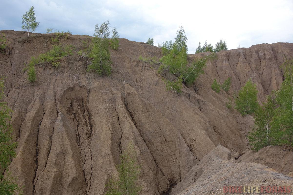 """березы растут повсюду на склонах. Но эрозия берет свое, и эти довольно рыхлые """"горы"""" постепенно разрушаются"""