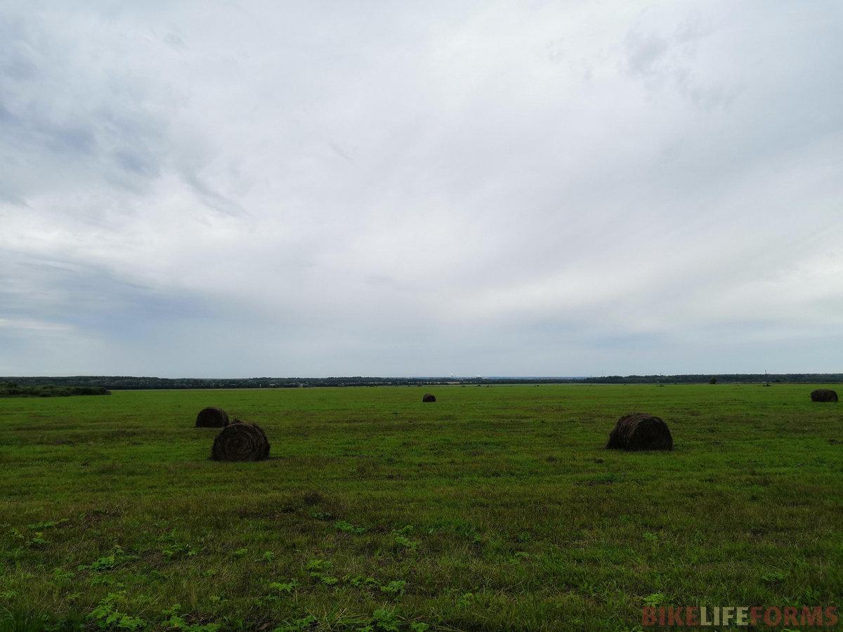 В полях активно заготавливают сено к зимнему сезону.