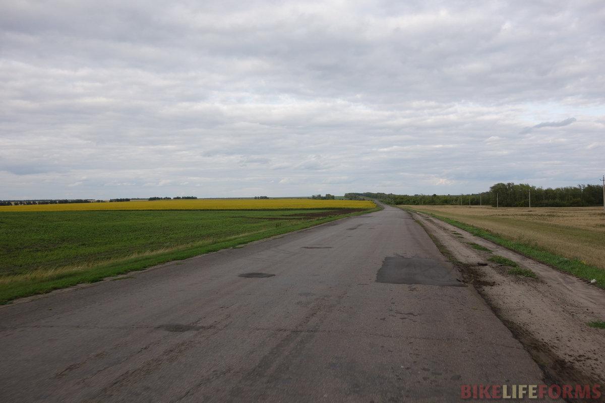 пустая и местами даже ровная дорога Мучкап-Романовка. Ветер так разбушевался, что легко ехалось 30 км/ч!