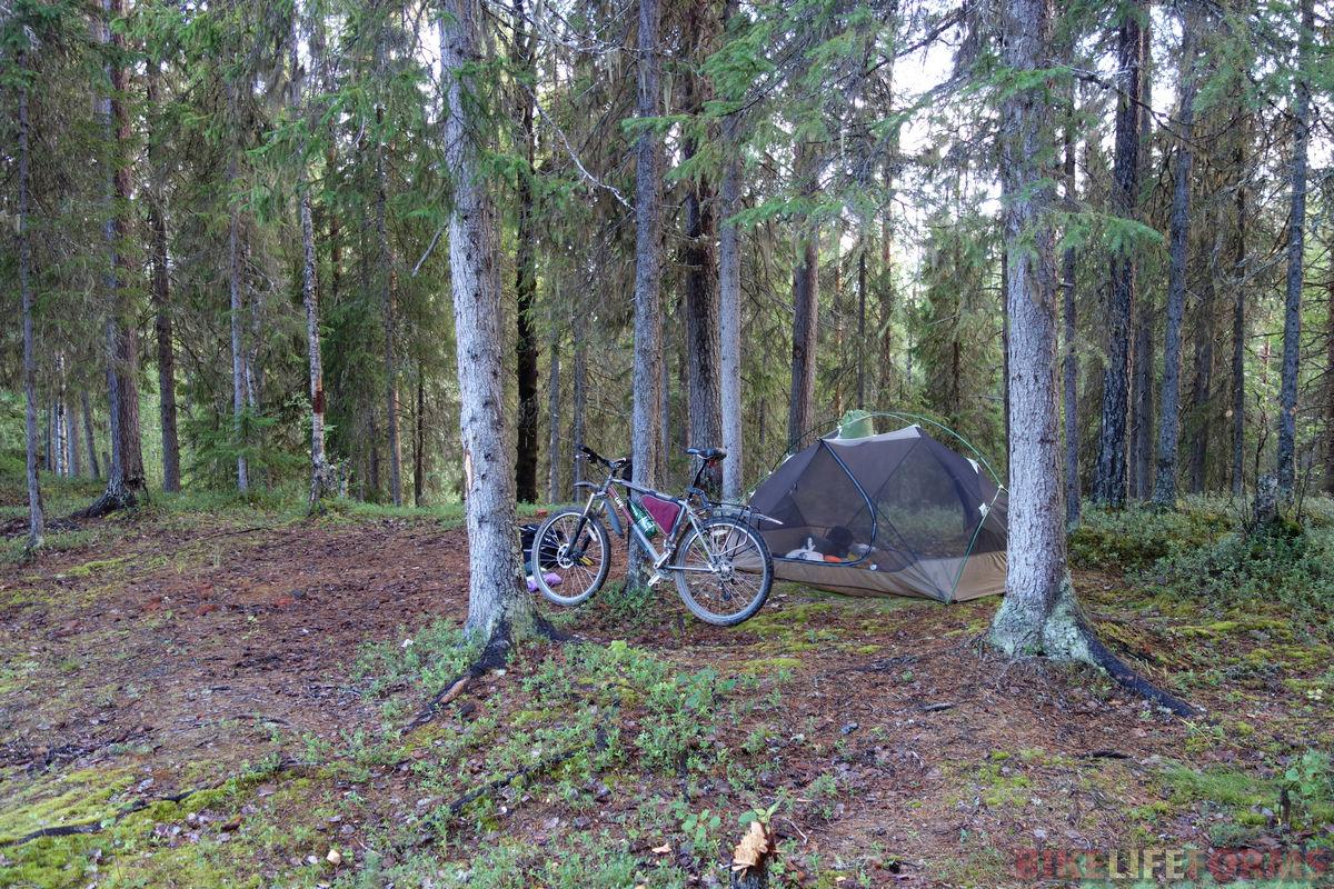 байк и палатка в северном лесу